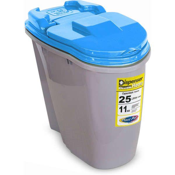 Porta Ração Compartimento Armazenador de ração Dispenser Home Plast Pet 25L  - Azul