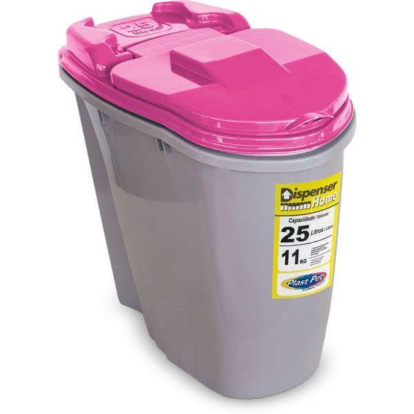 Porta Ração Compartimento Armazenador de ração Dispenser Home Plast Pet 25L - Rosa