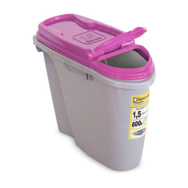Compartimento Pote para ração - Porta Ração Dispenser Plast Pet 1,5L Rosa