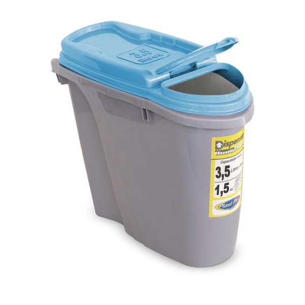 Compartimento Pote para ração - Porta Ração Dispenser Plast Pet 3,5L Azul
