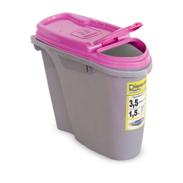Compartimento Pote para ração - Porta Ração Dispenser Plast Pet 3,5L Rosa