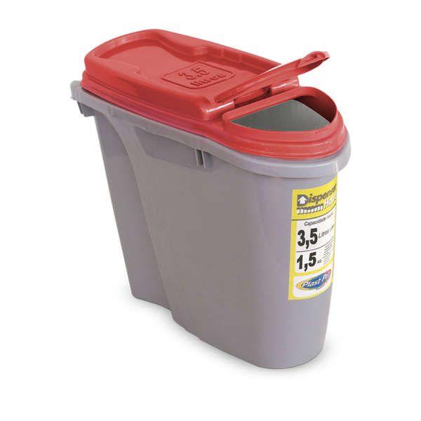 Compartimento Pote para ração - Porta Ração Dispenser Plast Pet 3,5L Vermelho
