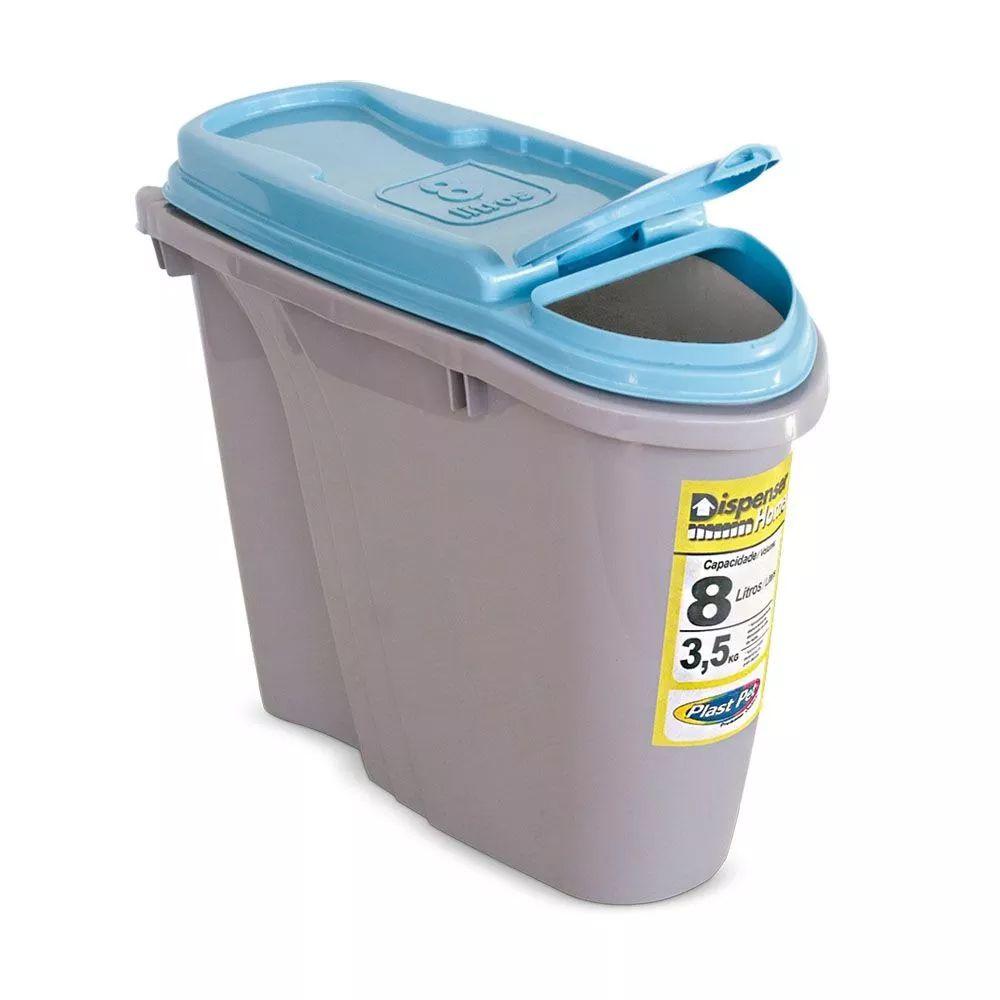 Compartimento Pote para ração - Porta Ração Dispenser Plast Pet 8L Azul