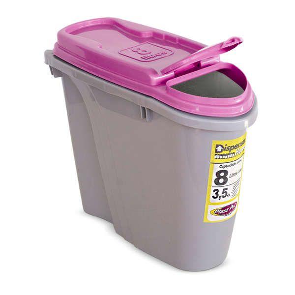Compartimento Pote para ração - Porta Ração Dispenser Plast Pet 8L Rosa