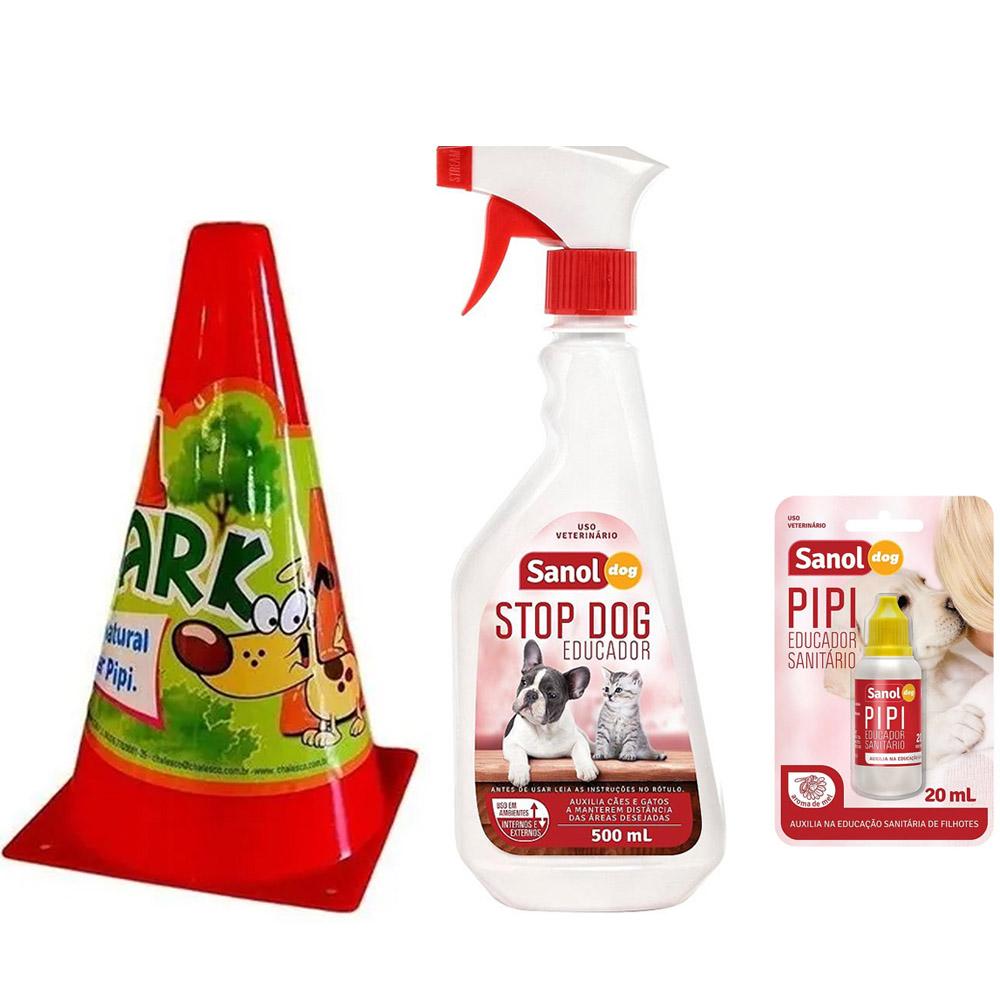 Kit Educador sanitário para cães: Stop Dog Sanol, Pipi Pode Sanol e Postinho pipi park Chalesco