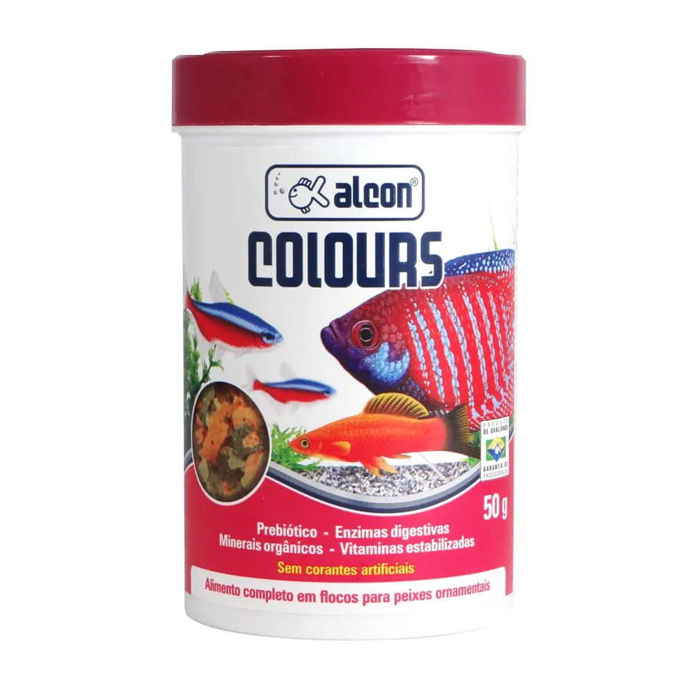 Ração de flocos para peixes Alcon Colours - realça a coloração dos peixes 50g