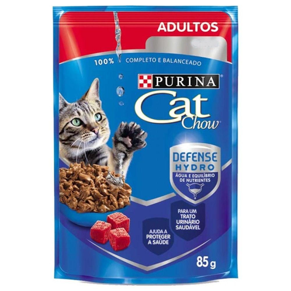 Sachê Para Gatos Adultos Cat Chow Carne ao molho - Alimento Úmido para gatos caixa 15 unidades de 85g