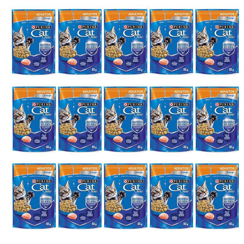 Sachê Para Gatos Frango ao molho Cat Chow Alimento úmido para gatos - caixa 15 unidades de 85g