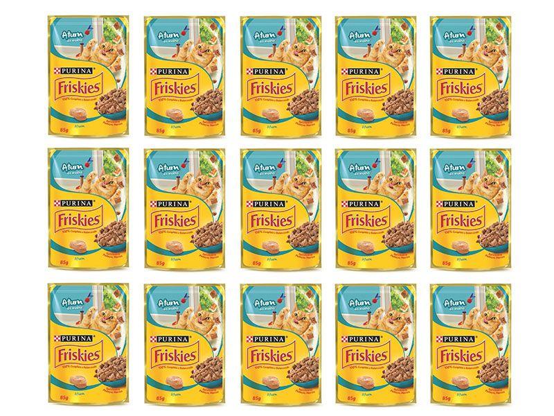 Sachê Para Gatos Friskies Atum ao molho - Alimento úmido para gatos caixa 15 unidades de 85g