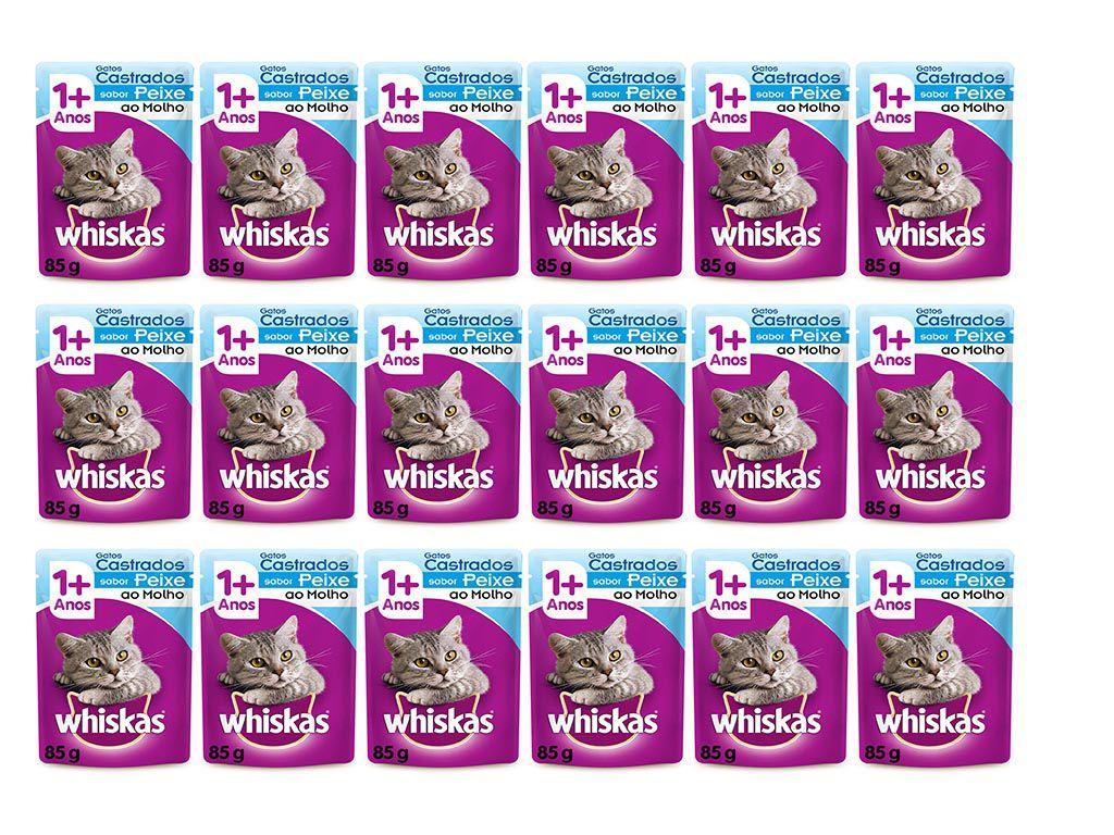 Whiskas Sachê Para Gatos Castrados Sabor Peixe - Alimento úmido caixa 18 unidades de 85g