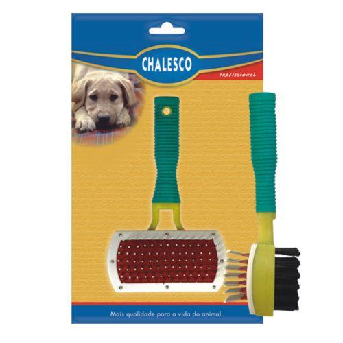 Escova de cachorro Rasqueadeira Dupla Especial super prática cães e gatos Chalesco
