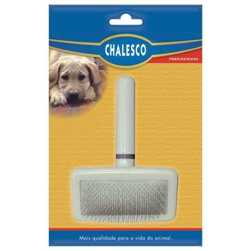 Escova Rasqueadeira Macia Branca para Cães Chalesco Pequena cod 70133