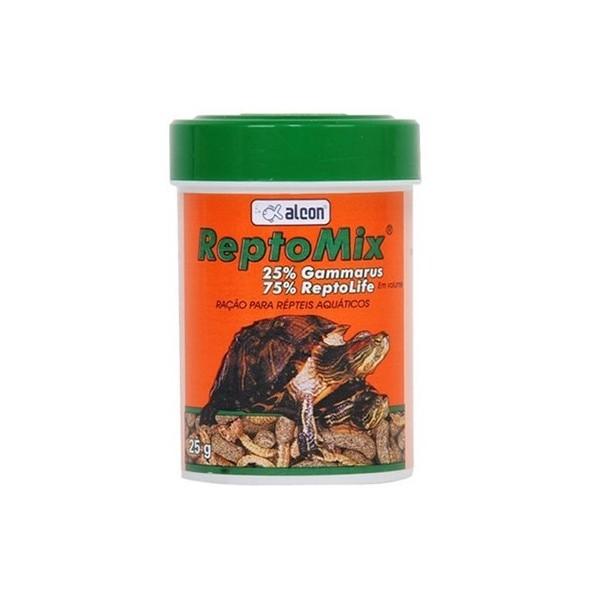 Alimento para tartarugas aquáticas Ração tartaruga Reptomix 25g Alcon (Ração Reptolife + Gammarus)