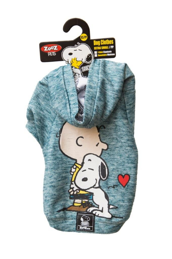 Roupinha Moletom para cães modelo Hug Snoopy e Charlie Brown com Capuz Zooz Pet Azul Jade Tam G