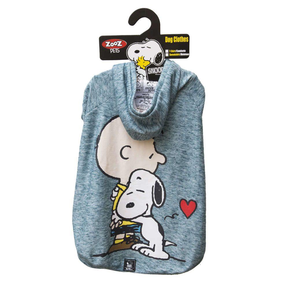 Roupinha Moletom para cães modelo Hug Snoopy e Charlie Brown com Capuz Zooz Pet Azul Jade Tam M