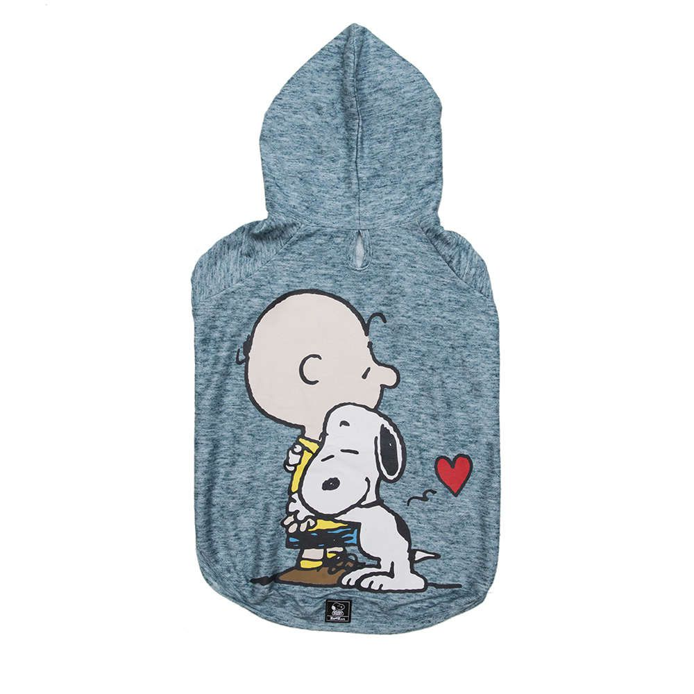 Roupinha Moletom para cães modelo Hug Snoopy e Charlie Brown com Capuz Zooz Pet Azul Jade Tam P