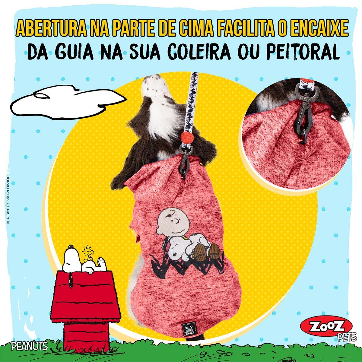 Roupinha Moletom para cães modelo Sleeping Snoopy Charlie Brown com Capuz Zooz Pets Vermelho