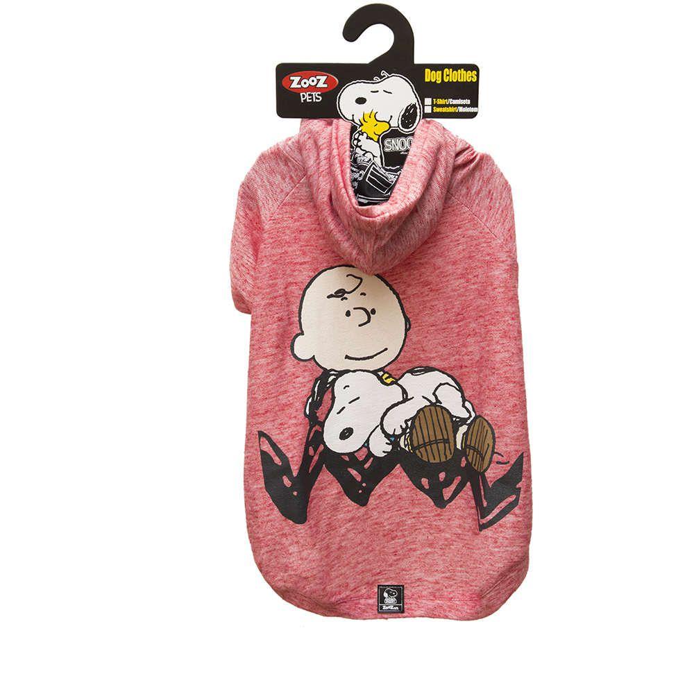 Roupinha Moletom para cães modelo Sleeping Snoopy e Charlie Brown com Capuz Zooz Pet Vermelho Tam P