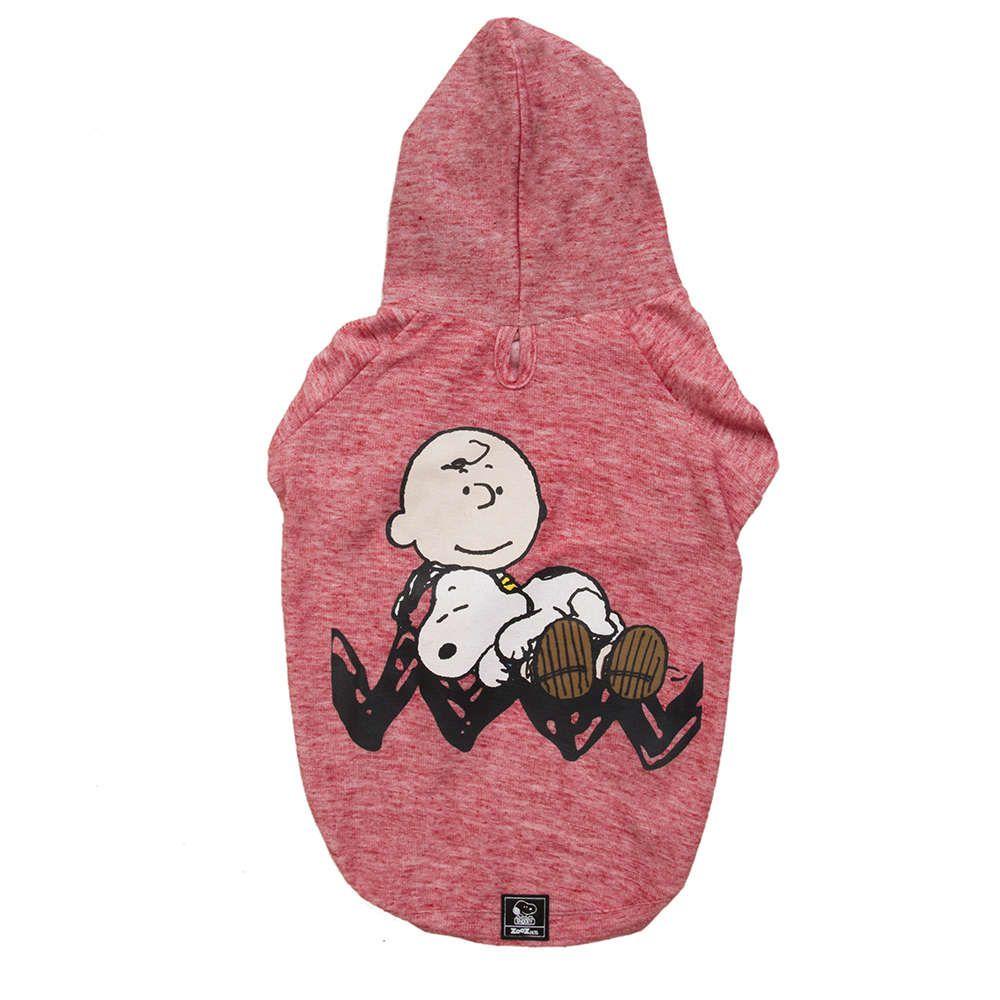 Roupinha Moletom para cães modelo Sleeping Snoopy e Charlie Brown com Capuz Zooz Pet Vermelho Tam G
