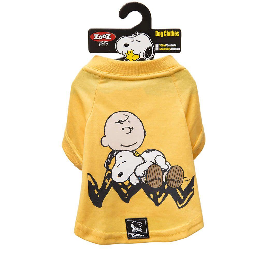 Roupinha para cães - Camiseta Snoopy e Charlie Brown Amarela Zooz Pet