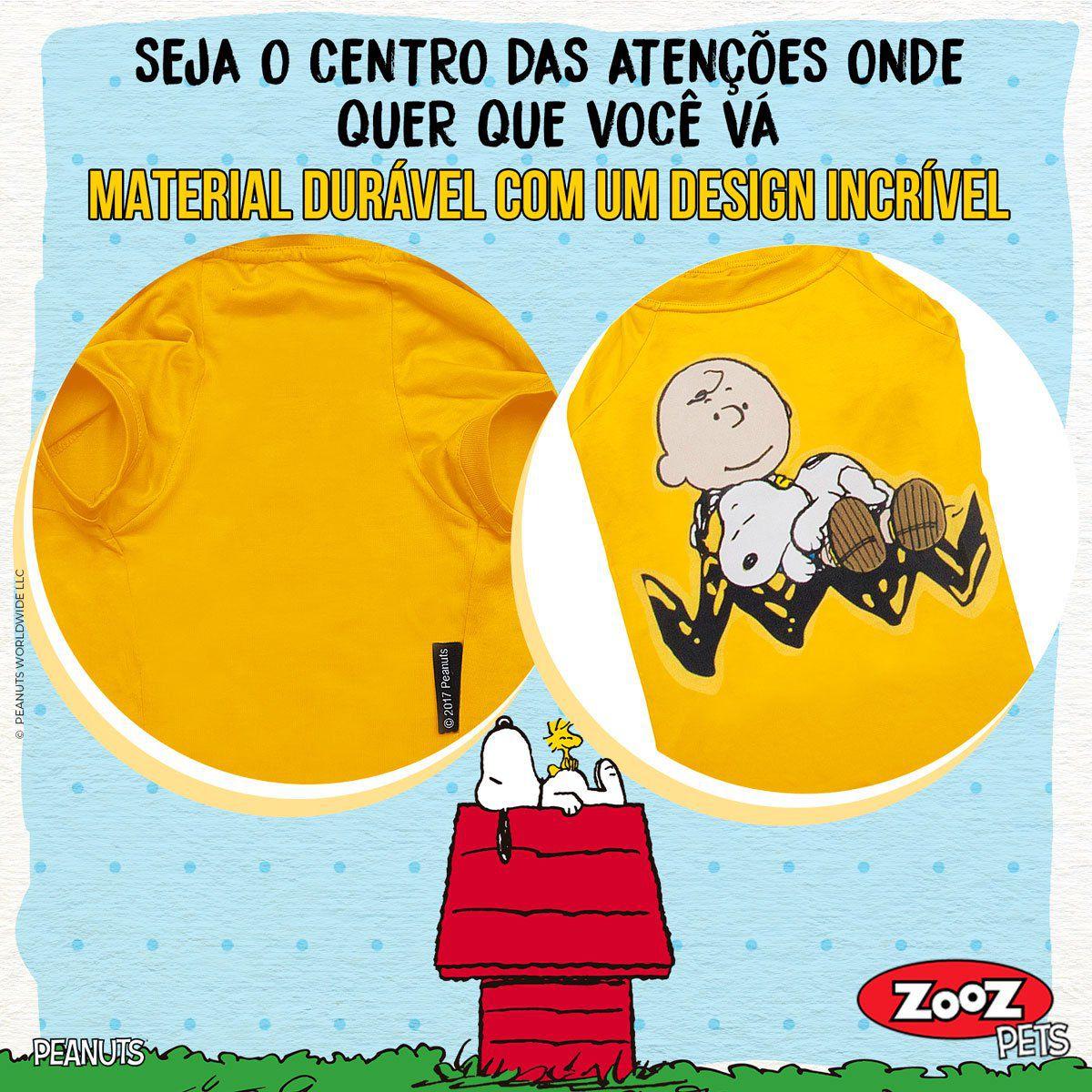 Roupinha para cães - Camiseta Snoopy e Charlie Brown Amarela Zooz Pets