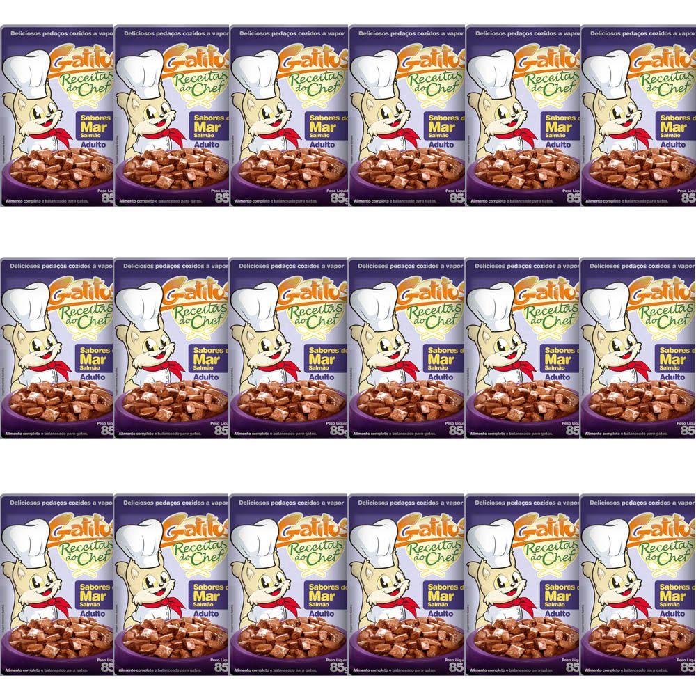 Alimento molhado para gatos, Sachê ração ùmida Salmão - Gatitus 85g Caixa 18un