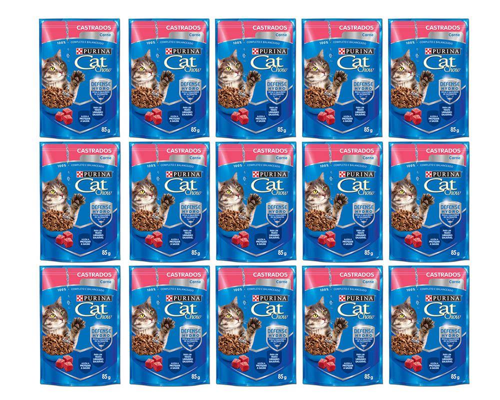 Sachê Para Gatos Castrados Cat Chow Carne ao molho - Alimento Úmido para gatos caixa 15 unidades de 85g
