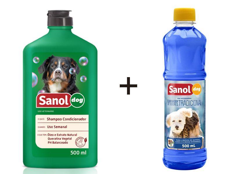 Shampoo Condicionador 2 em 1 para Cães + Limpador de Ambiente Desinfetante Eliminador De Odor