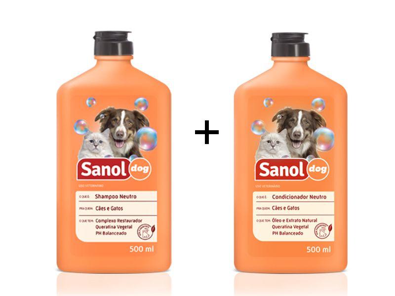 Shampoo e Condicionador Neutro para Cachorro e Gato Sanol Dog 500ml (Não agride Pele e pelagem dos animais)