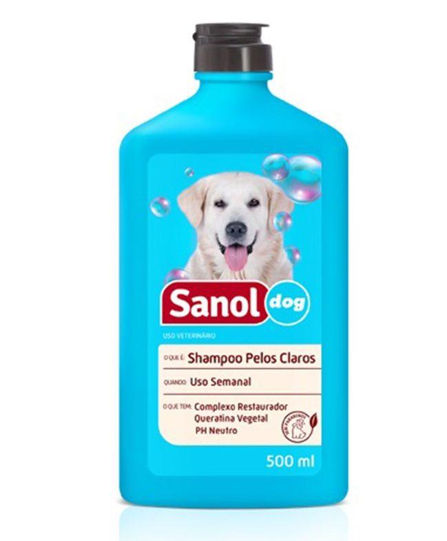 Shampoo para Cachorro de pelos claros Sanol Dog 500ml - Shampoo cães aloe vera camomila