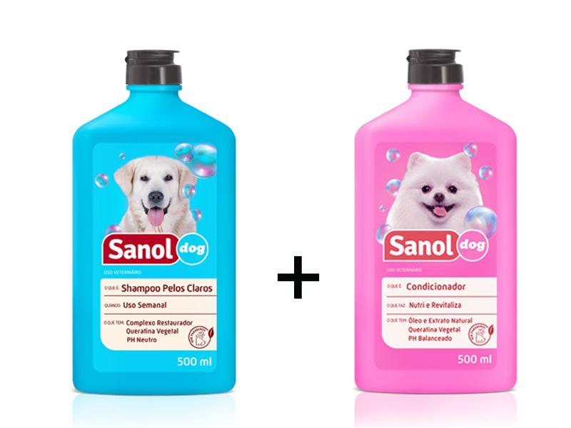 Shampoo para Cães Pelos Claros e Condicionador Revitalizante para cachorro Sanol