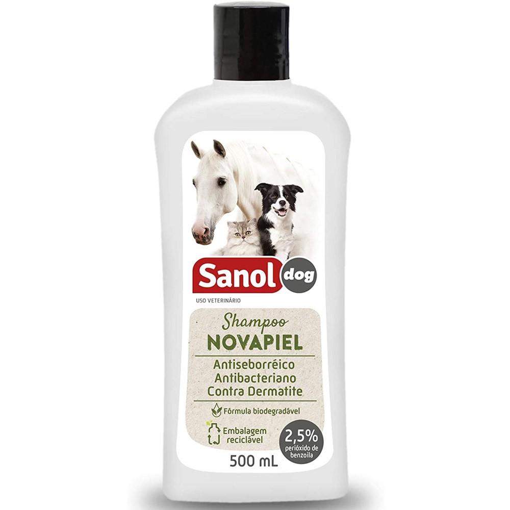 Shampoo Peróxido de Benzoila para Cachorro, Gato, Cavalo, Bactericida Seborreico Novapiel Sanol 500ml