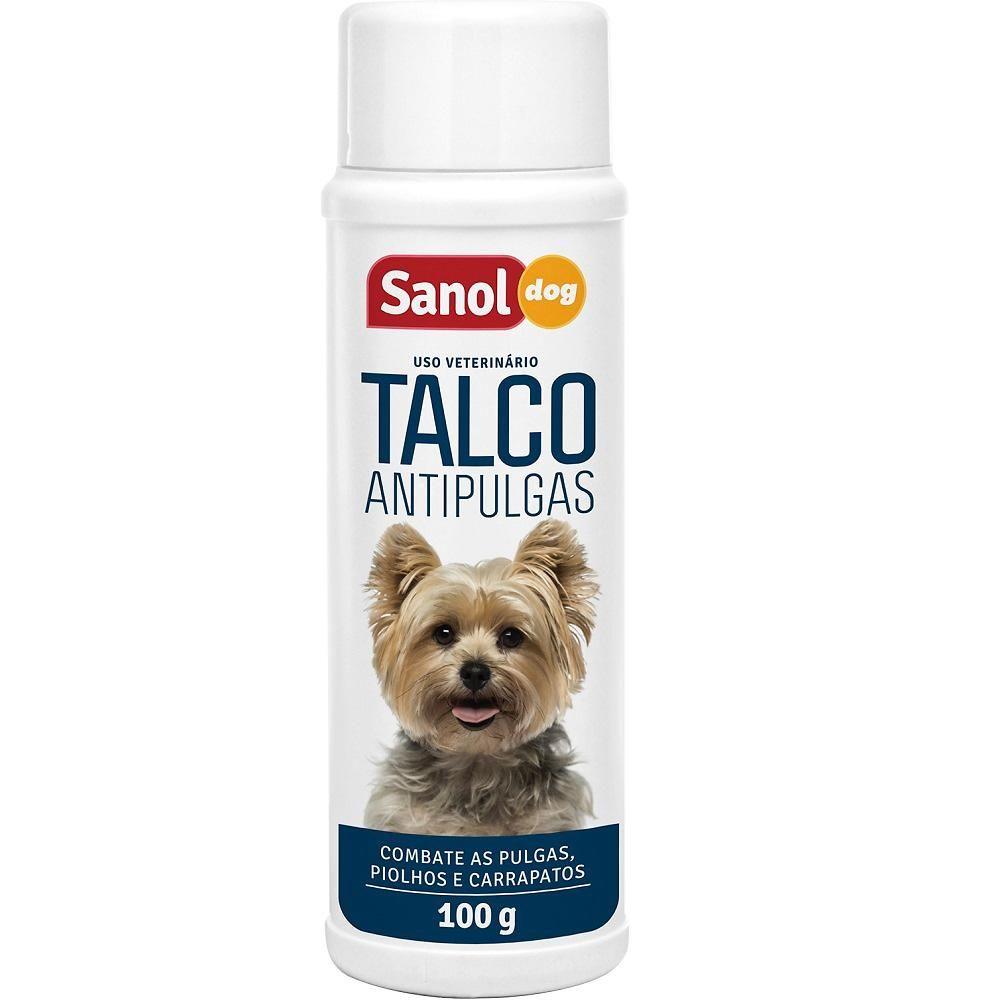 Talco para pulgas para cães. Talco Antipulgas para Cachorro Sanol Dog 100g - Aplicação diretamente no animal e no ambiente