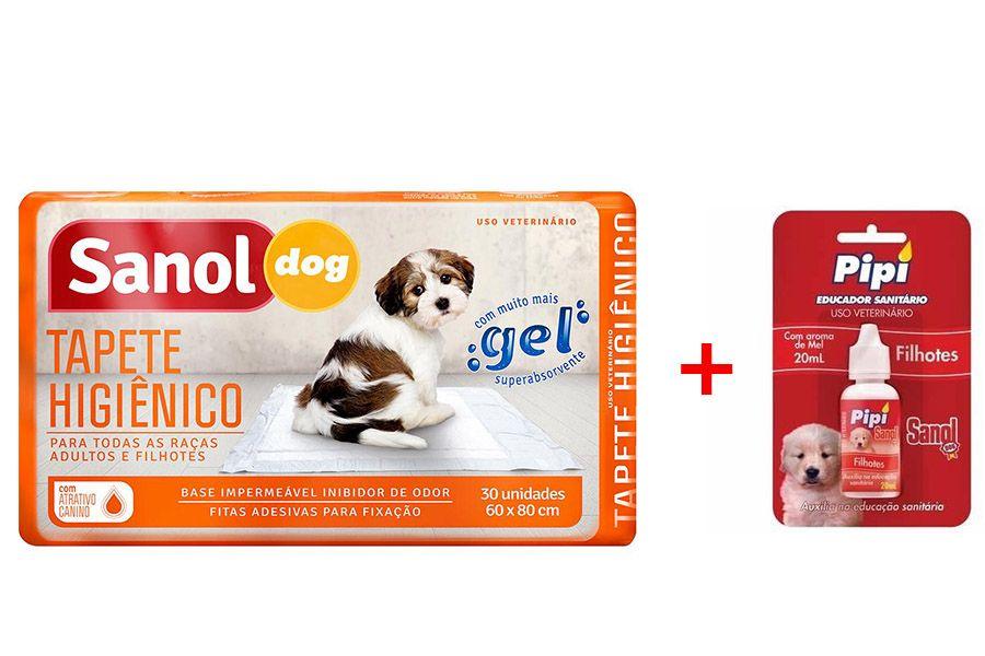 Tapete Higiênico Sanol 30 Unidade + Atrativo Canino Pipi Sim Sanol