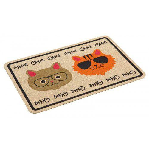 Tapete tipo Capacho ou Jogo Americano para cães e gatos anti-derrapante 40x60cm estampa gatinhos de óculos