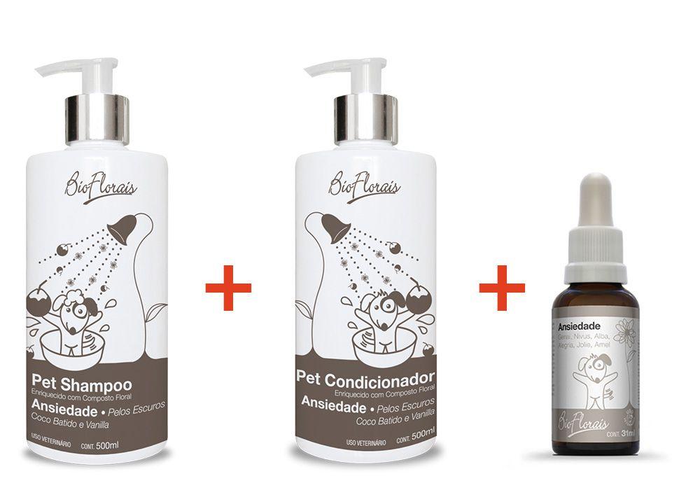 Tratamento Floral para Ansiedade Cães e gatos: Shampoo, Condicionador Pelos Escuros e Floral Bio Florais