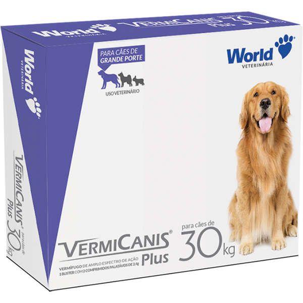 Vermífugo de cachorro World Veterinária VermiCanis Plus para Cães de 30 Kg 2 Comprimidos