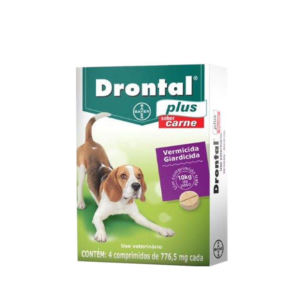 Vermífugo para cachorro Drontal sabor carne Bayer caixa com 4 comprimidos cada comprimido trata 10kg