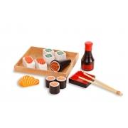 Brinquedo Comidinhas De Madeira - Kit Sushi 16 Peças