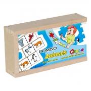 Brinquedo Dominó Animais em MDF - 28 peças