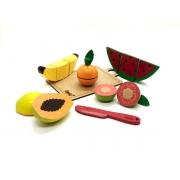 Brinquedo Educativo Comidinhas 5 Frutas + Faca + Tábua