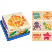 Brinquedo Educativo -Quebra Cabeça Cubo Animais Marinho