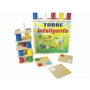 Brinquedo Torre Inteligente em Madeira - 63 peças