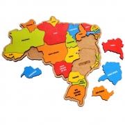 Brinquedo Quebra Cabeça Infantil Mapa Do Brasil  P Em Madeira