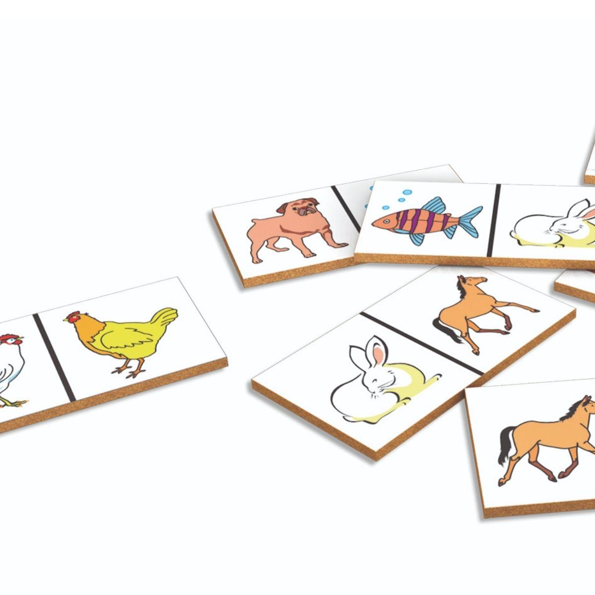 Brinquedo Dominó Animais Domésticos em MDF - 28 peças