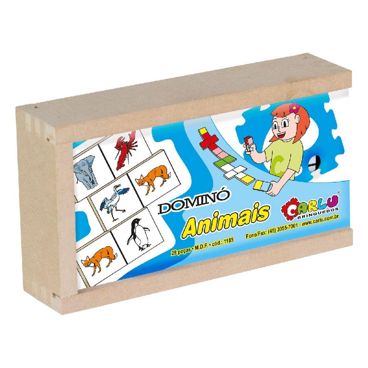 Brinquedo Pedagógico Dominó Animais em MDF - 28 peças