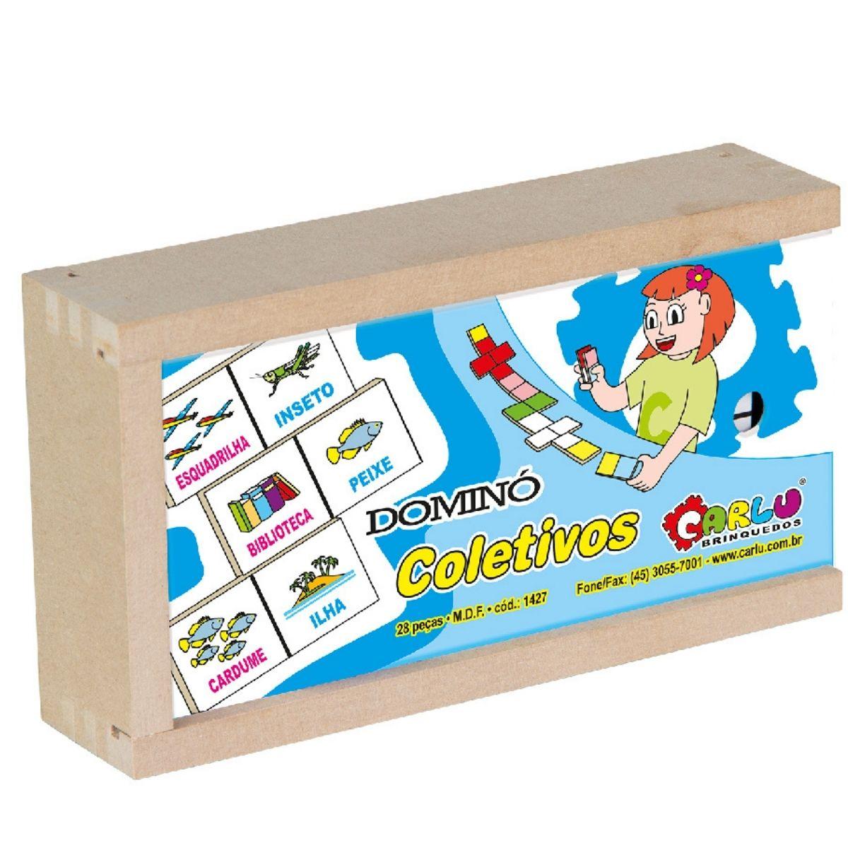 Brinquedo Pedagógico Dominó Coletivos MDF - 28 peças