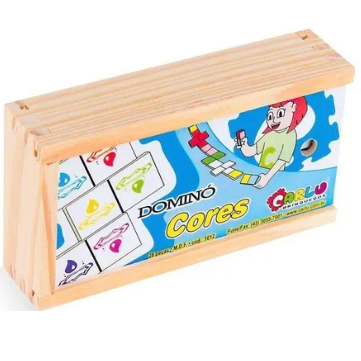 Brinquedo Pedagógico Dominó Cores MDF - 28 peças