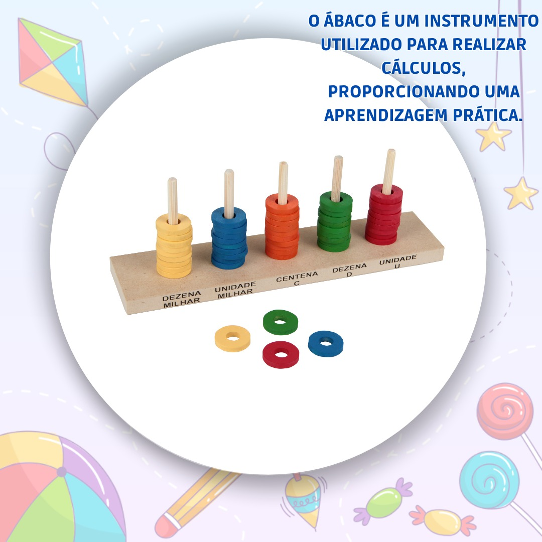 Brinquedo Educativo Ábaco Aberto 50 Argolas de MDF