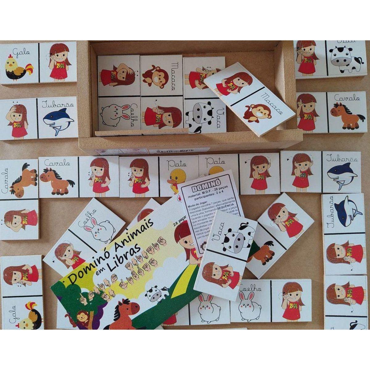 Brinquedo Educativo Domino Libras - Animal